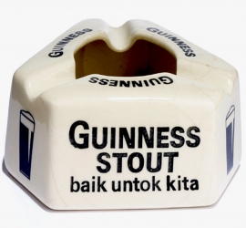 Ceramic Advertising/ Promotional Ceramic Ashtray for Guinness Stout, Manufactured by Goh Ban Huat/ Diamond, Malaysia