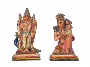 Set of 2 Vintage Golu Dolls of Muruga and Shiva with Ganesha