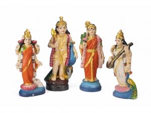 Set of 4 vintage Golu Doll Gods