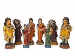 A Group Of Vintage Golu Dolls