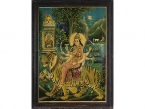 Early 20th Century Oleograph of Durga