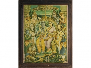 Early 20th Century Oleograph of Ram and Sita