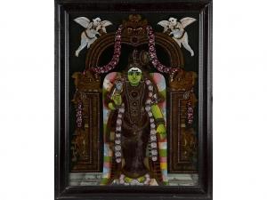Vintage Reverse Glass Painting of Madurai Meenakshi