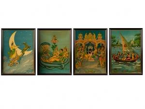 A Set Of 4 Ravi Varma Press Oleograph