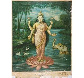 A 1928 print of Shree Lakshmi by Vasudeo H. Pandya